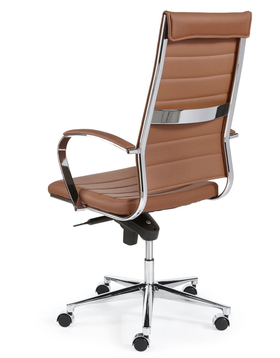 design bureaustoel hoge rug in bruin cognac